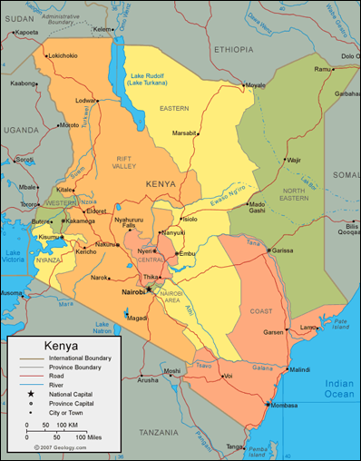[Map over Kenya]